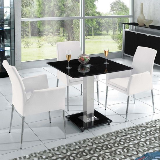 Captivating Stylish Small Square Dining Table For Your Modern Dining Spaces: Great  MOdern Whute Black Color