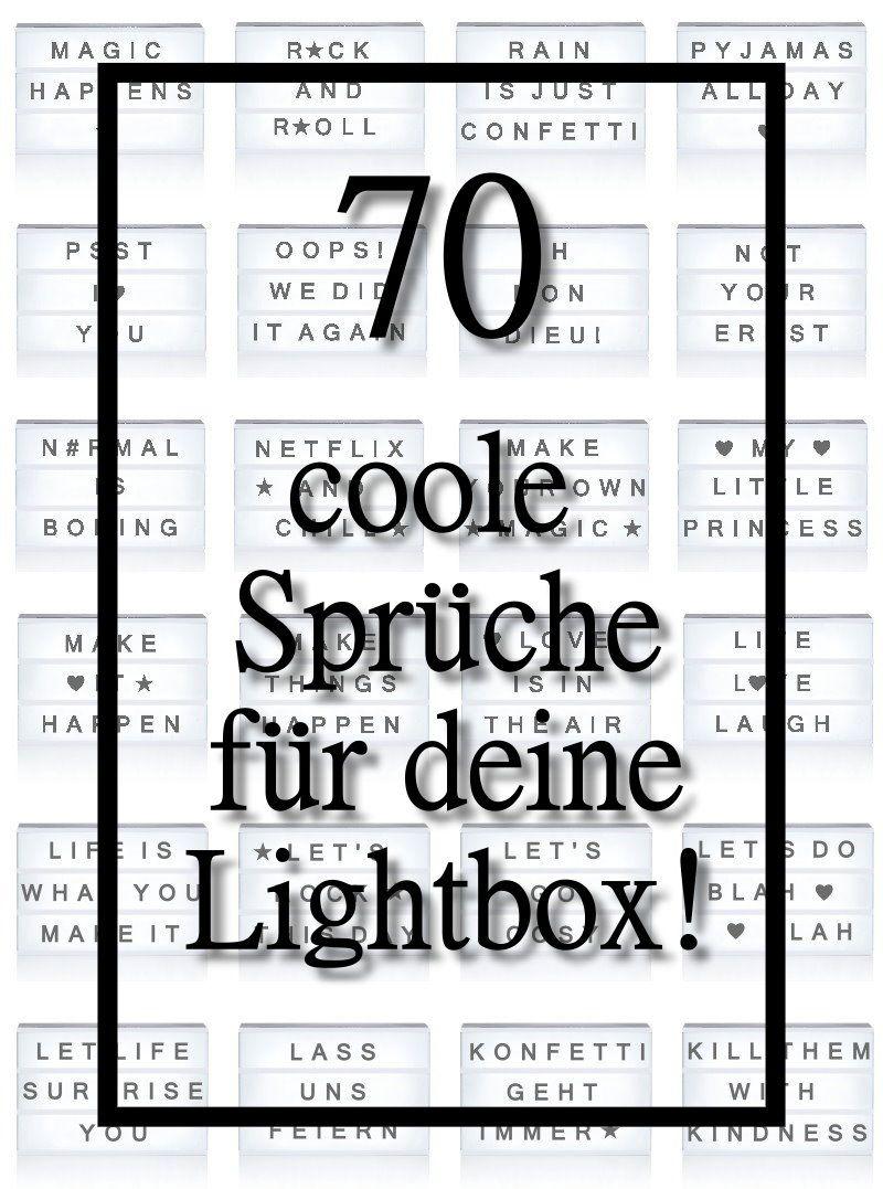 70 coole Sprüchen für deine Lichtbox - Quotes, Lightbox | Indoor ...