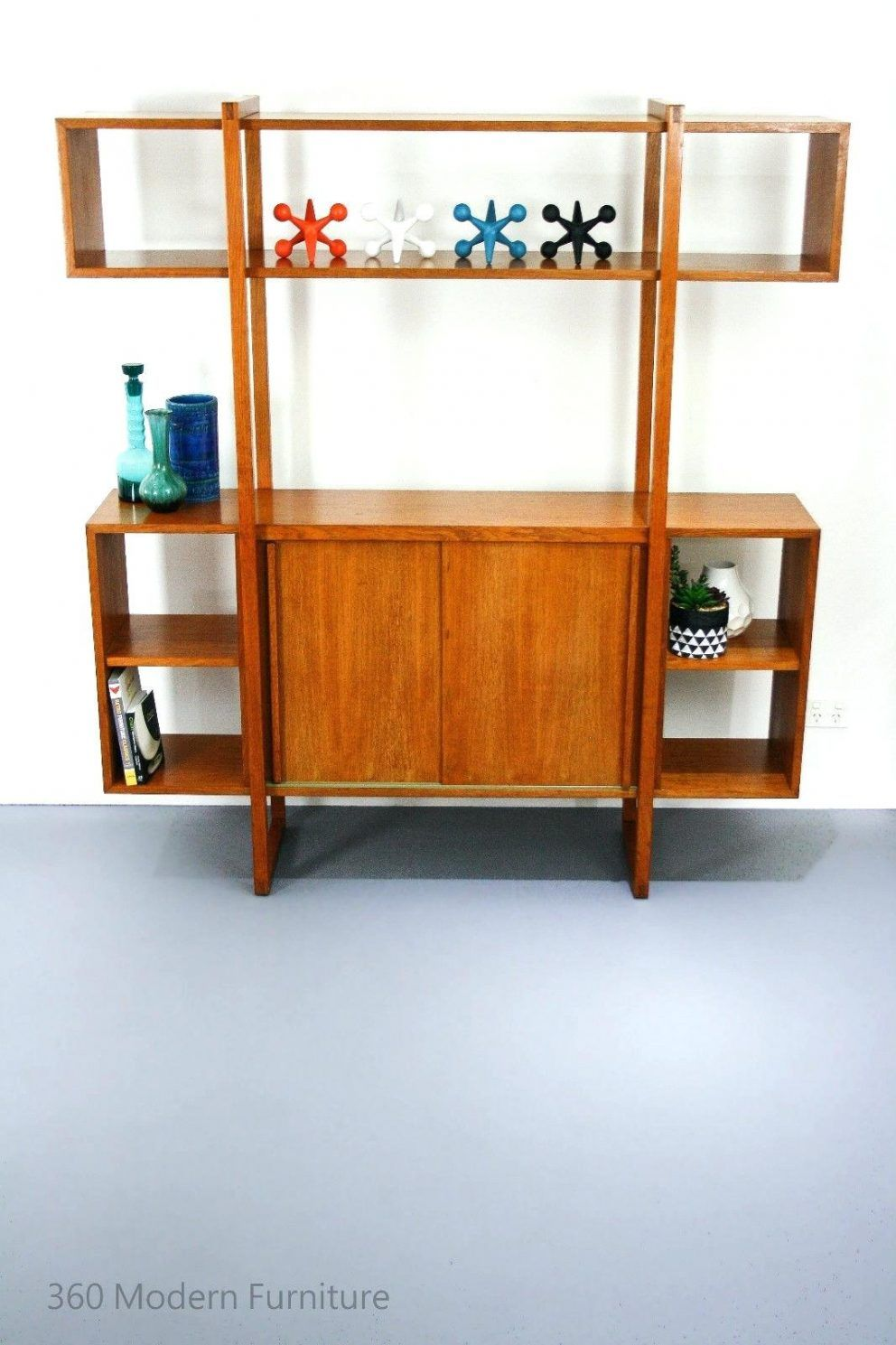 Mid Century Room Divider Wall Unit Bookcase Teak Shelves