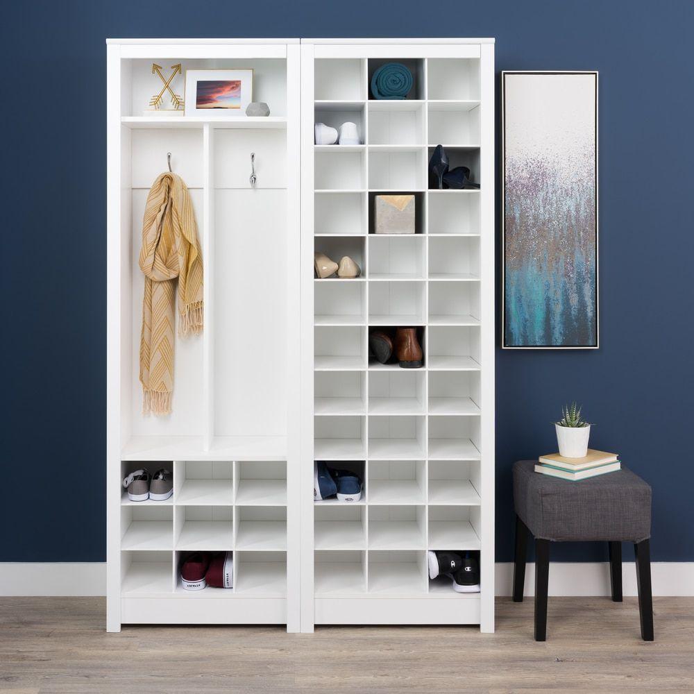 Prepac Winslow Laminate White Space Saving Shoe Storage Cabinet (White  Space Saving Shoe Storage Cabinet)