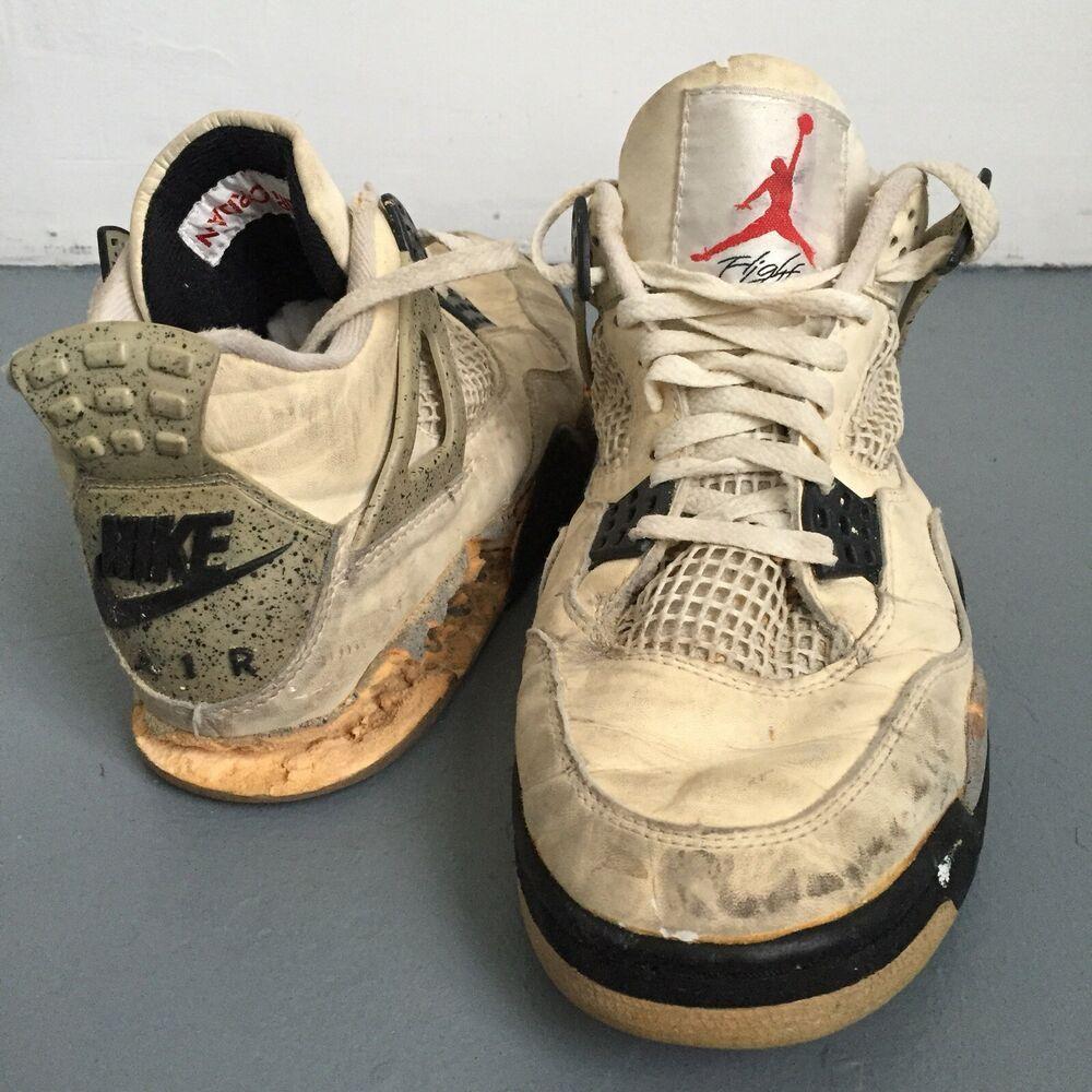 1989 Og Nike Air Jordan Iv 4 Shoes White Grey Cement Sz 9 Original 89 Taiwan Vtg Shoes Kicks Sneakerheads Sneakers Men Air Jordans Air Jordan Iv