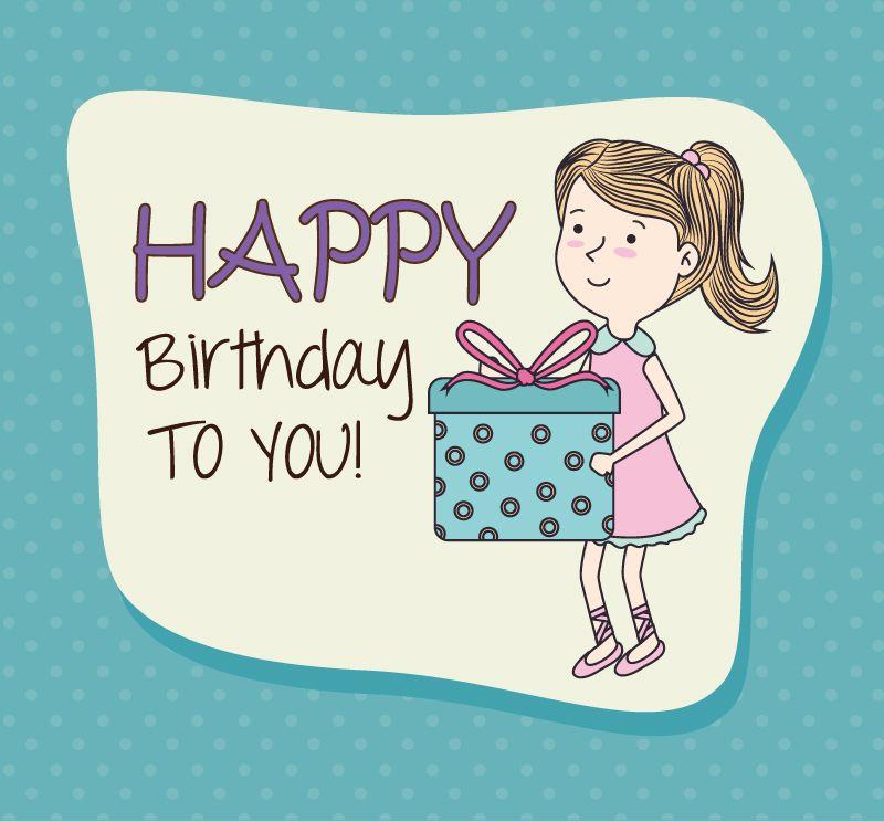 Cumpleaños de la historieta chica de fondo de material de vectores - free blank greeting card templates
