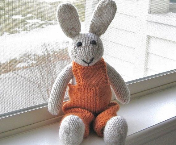 Knitting Easter Bunnies : Hand knit easter bunny in orange overalls plush doll stuffed