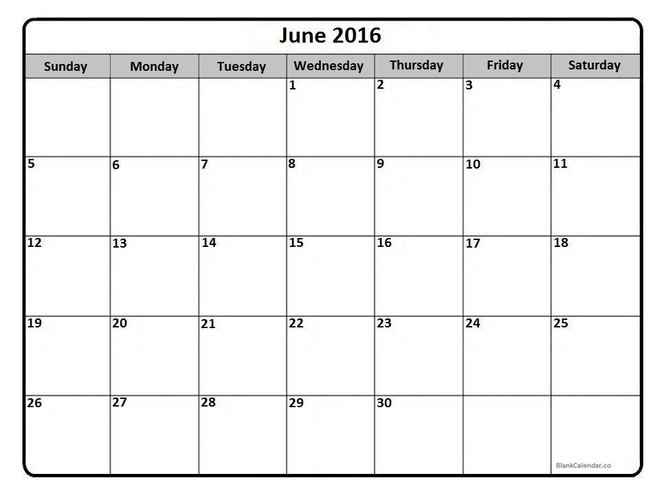 June 2016 Calendar Printout Printable Calendar Template Blank