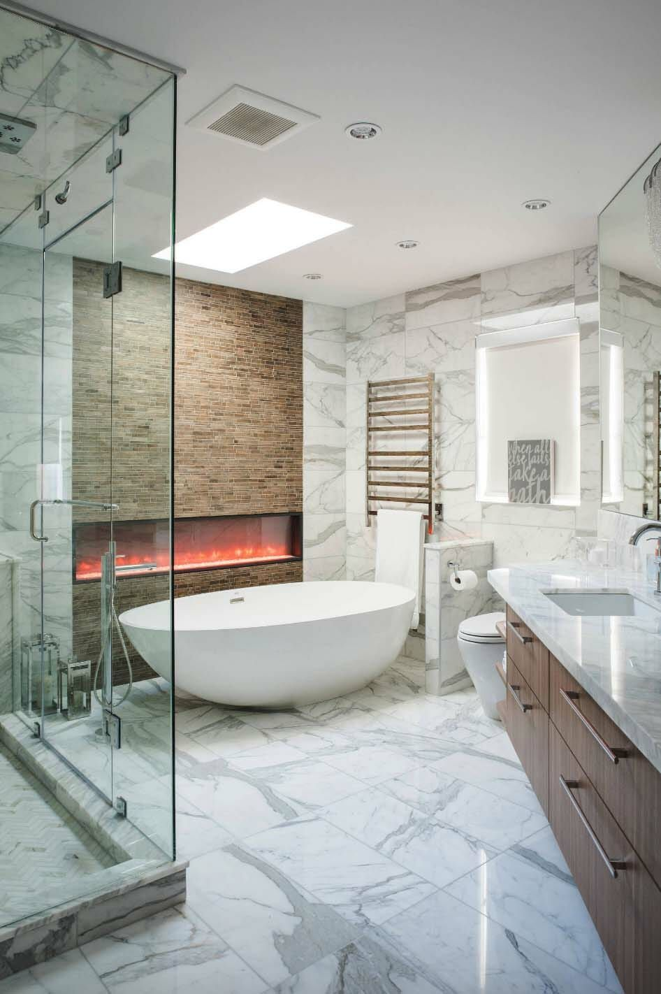 20 Inspiring Ideas To Create A Dreamy Master Bathroom Retreat Big Bathrooms Bathroom Retreat Bathroom Fireplace