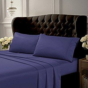 Tribeca Living 6 Piece 500 Thread Count Egyptian Cotton Sateen Deep Pocket  Sheet Set, Midnight