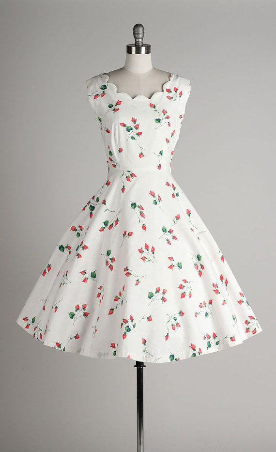 Vintage 1950s dress . white cotton . pink flower bud print ...