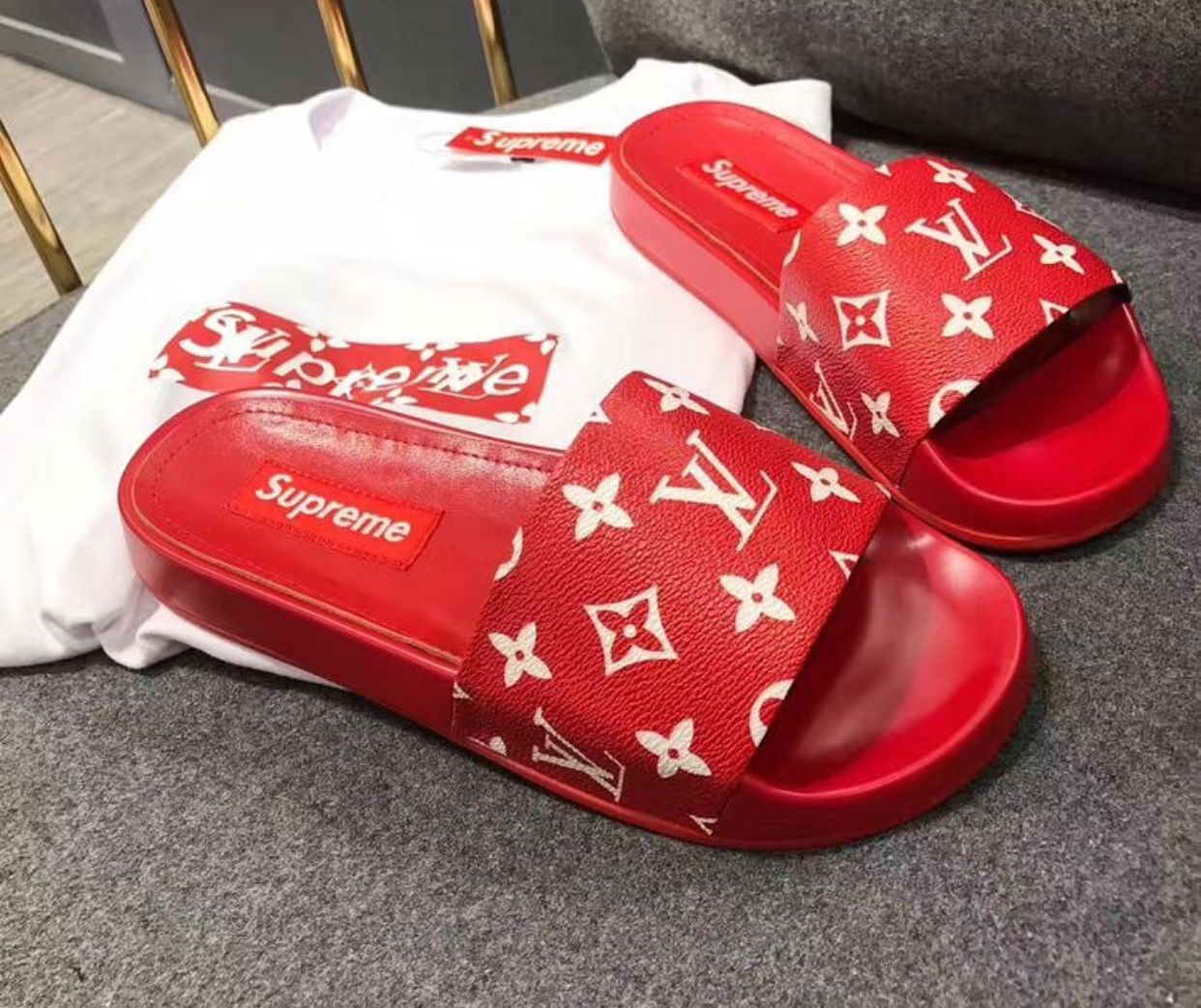 top-rated real cheaper authentic quality red #supreme #slides PINTEREST:DEE✨✨ in 2019 | Louis ...