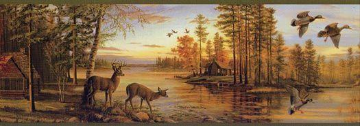 Fall Scene Deer Wallpaper Border FG35541B Wallpaper