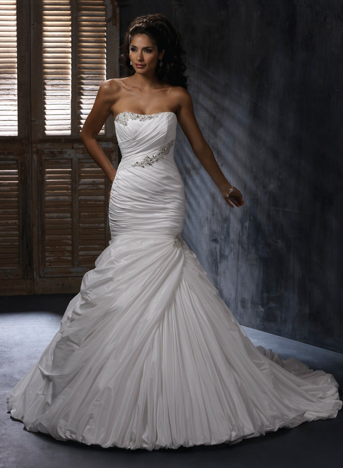 Taffeta dipped neckline fit and flare mermaid wedding dress