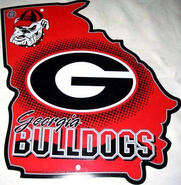 NCAA Georgia Bulldogs Embossed Aluminum Team Color Vanity GO DAWGS License Plate