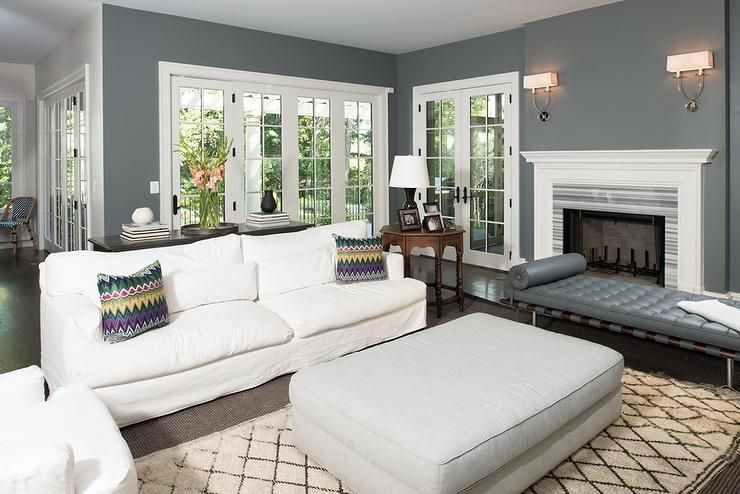 White And Charcoal Gray Living Room Features A Gray