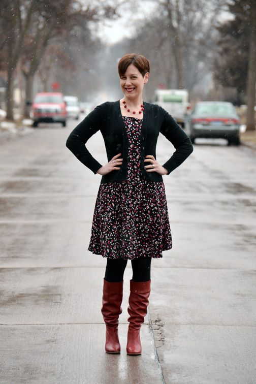 a13b48e054fd Already Pretty outfit featuring black cardigan, black floral dress, black  tights, red slouch boots, red jade necklace