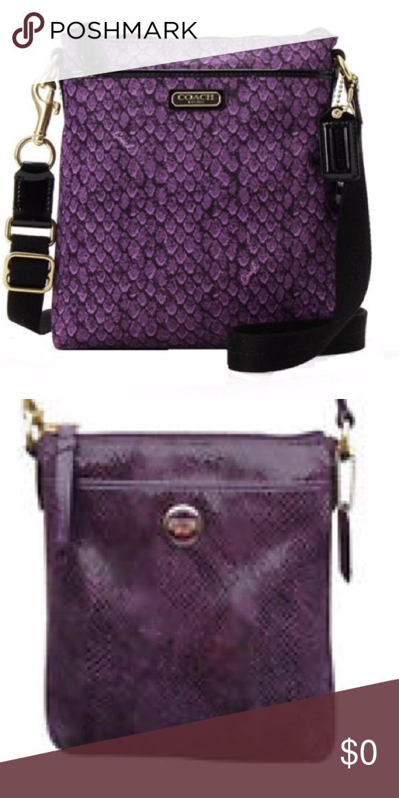 bad757bc08cd Authentic COACH Snake Print File Bag Genuine COACH Taylor Cross Body File  Bag in Purple Snake