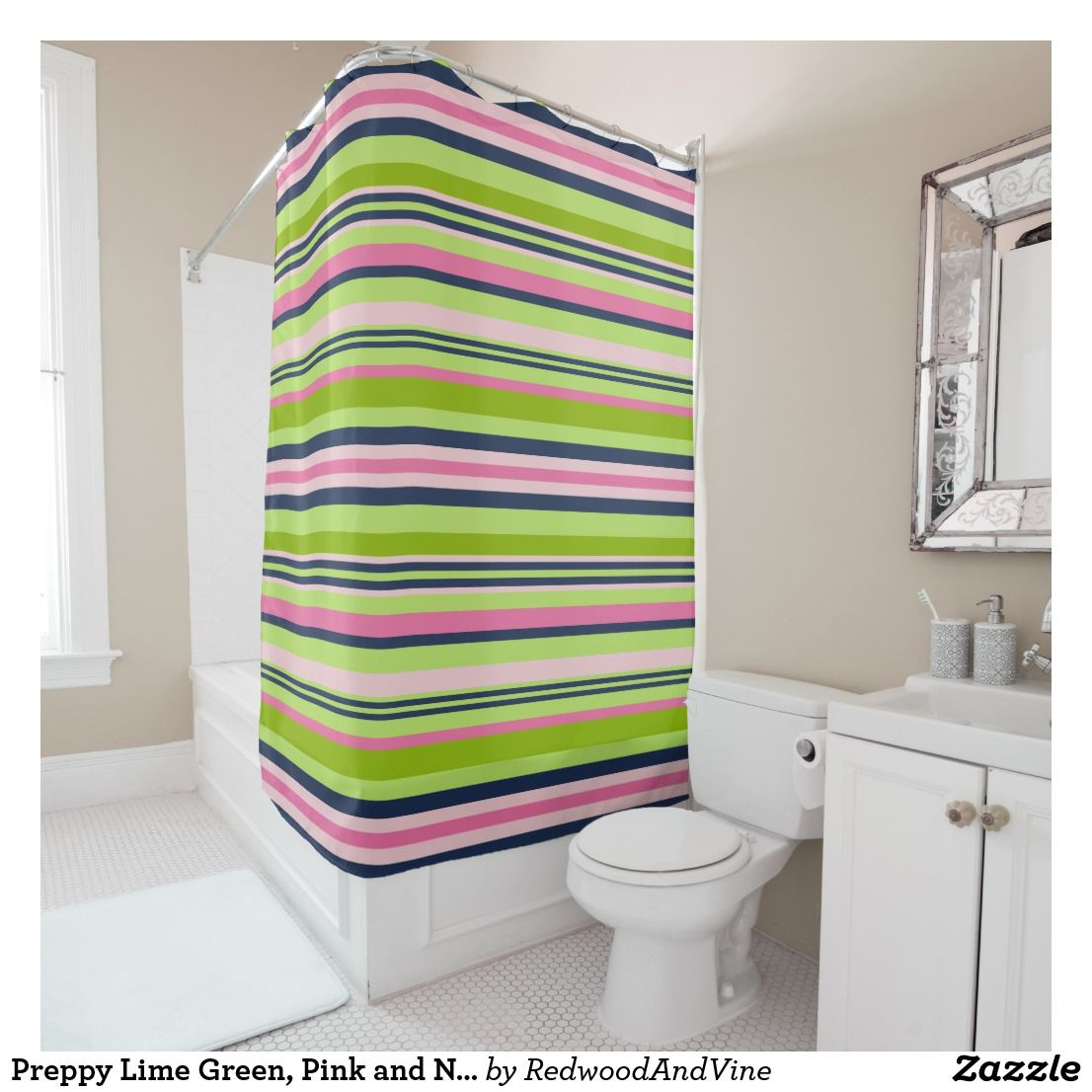 Preppy Lime Green Pink And Navy Stripe Shower Curtain Zazzle