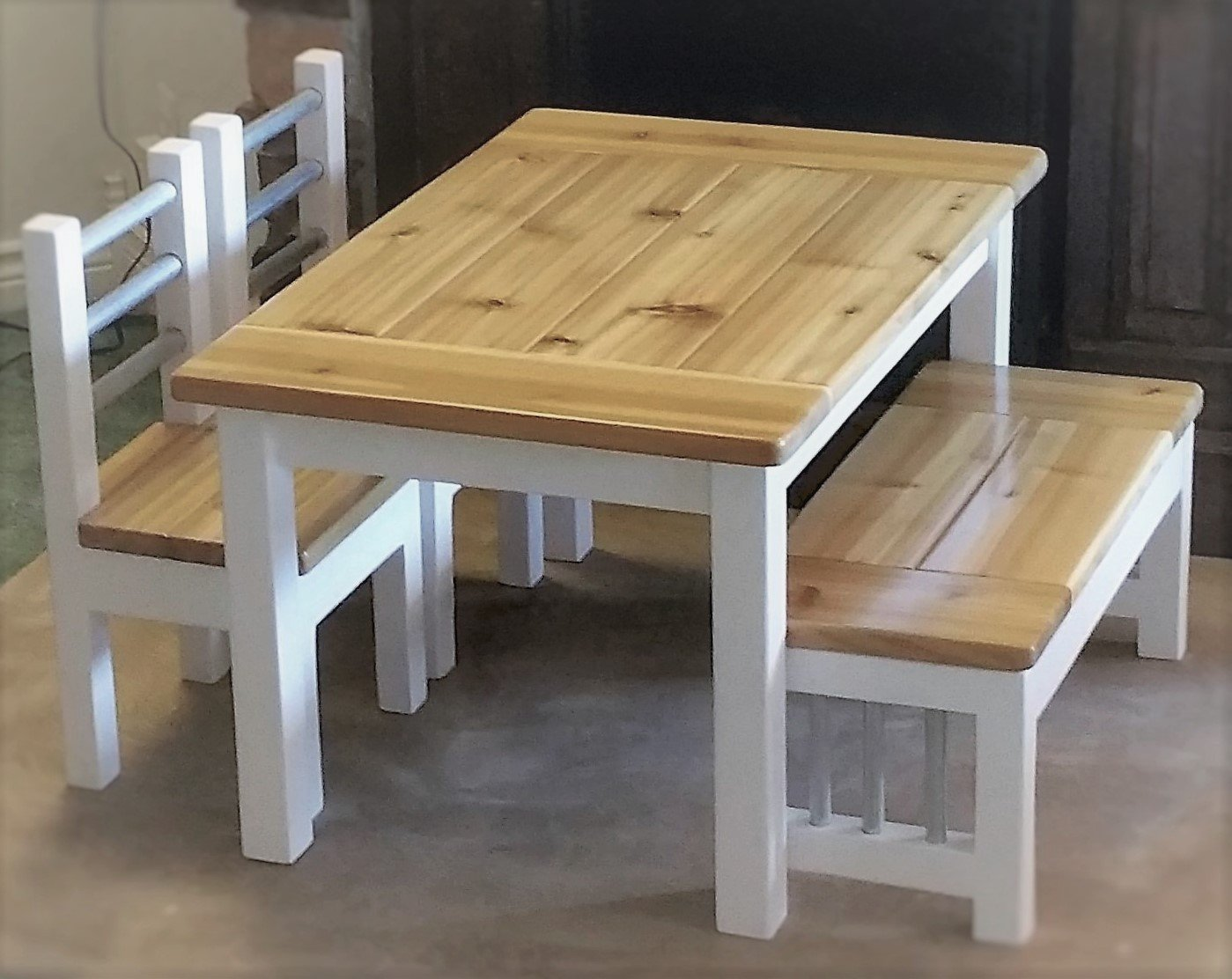 Rustic Kids Farmhouse Table Set Toddler Table And Chairs Toddler Table Kids Table And Chairs