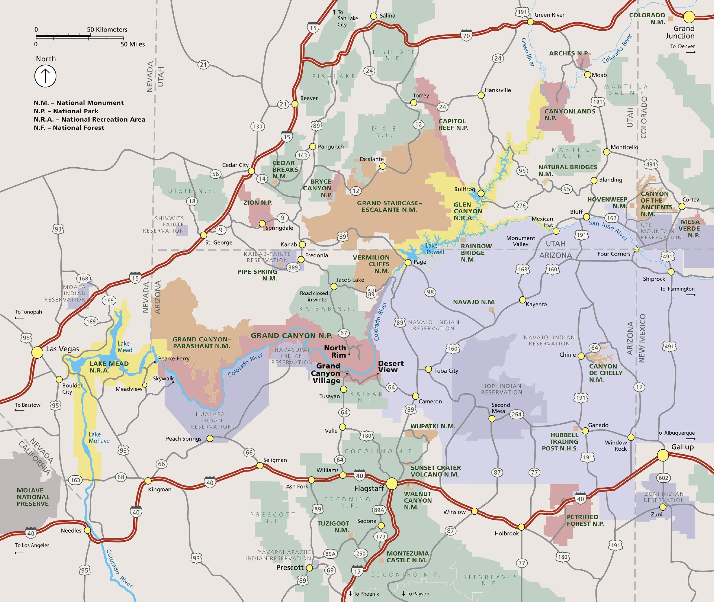 Colorful regional map of the Grand Canyon area and surrounding parks