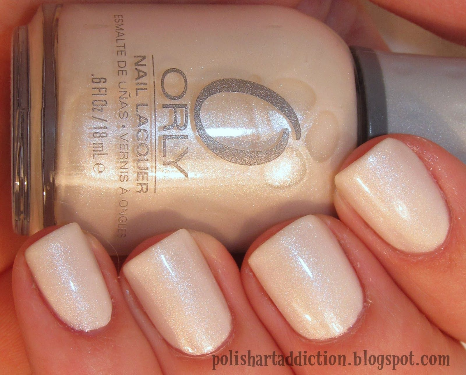 White color nail art - Orly Au Champagne Nails White Off White Simple Glitter Wedding