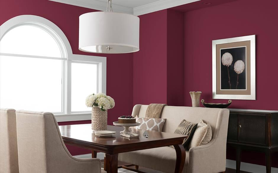 Dining Room In Bold Sangria