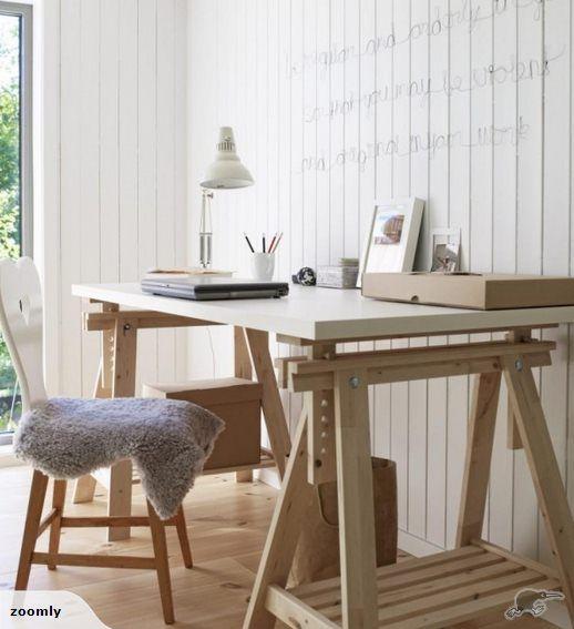 Ikea Linnmon Finnvard Table With Birch Leg Modern Drafting Tables Home White Table Desk