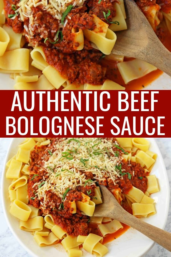 Beef Bolognese Sauce. Authentic Italian Beef Bolognese Sauce on top of fresh pasta is a warm, weeknight dish made in less than 30 minutes.