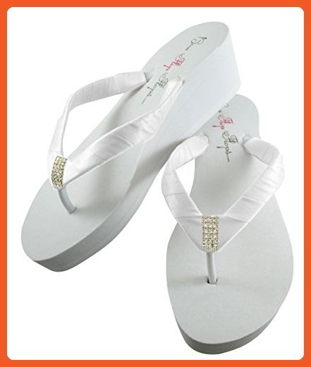 bfa4a280f1efe Emerald Cut Bridal Wedge Flip Flops in Low Flat or High Platform ...