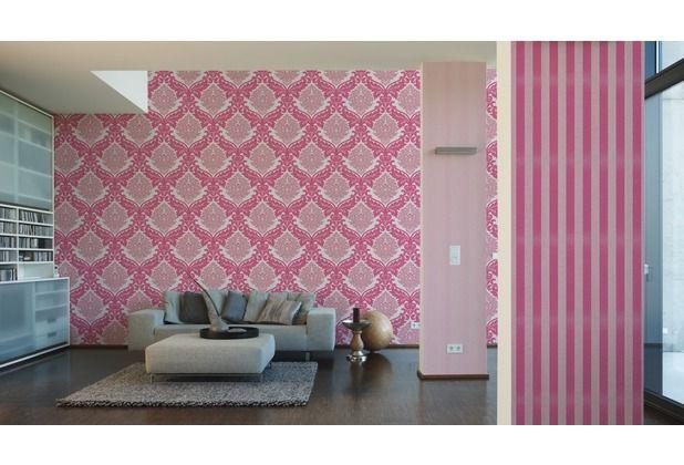 Think Pink! Stylische Tapete im Retro-Style mit Ornamenten ...