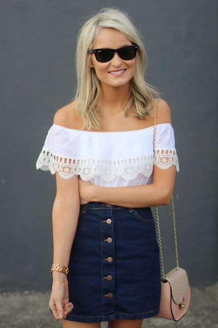 aef71c199 Pair the denim aline skirt with a Bardot top this summer ...