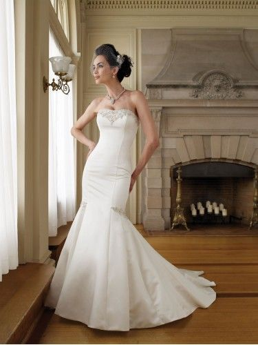 Satin Strapless Softly Curved Neckline Mermaid Wedding Dress ...