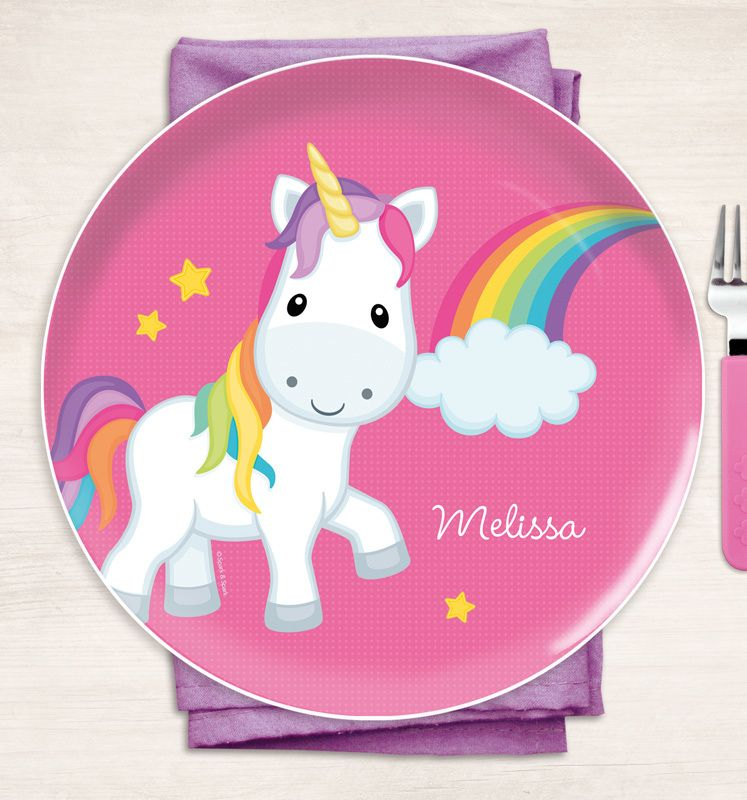 Rainbow Unicorn Kids Plates With Images Rainbow Unicorn Kids