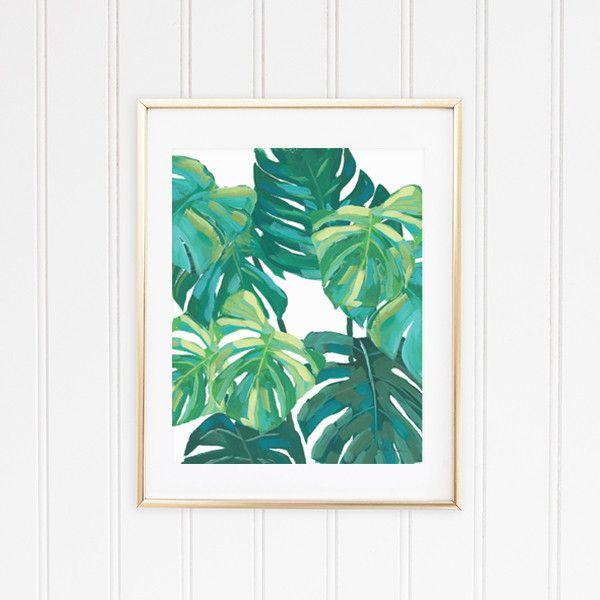 Tropical Wall Art monstera leaf tropical wall art print | wall decor | pinterest