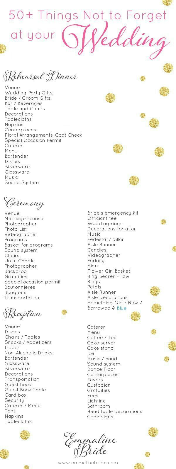 Things not to forget for the wedding wedding registry ideas bride to be reading wedding checklist things not to forget at your diy or planned wedding wedding day checklist printable junglespirit Gallery