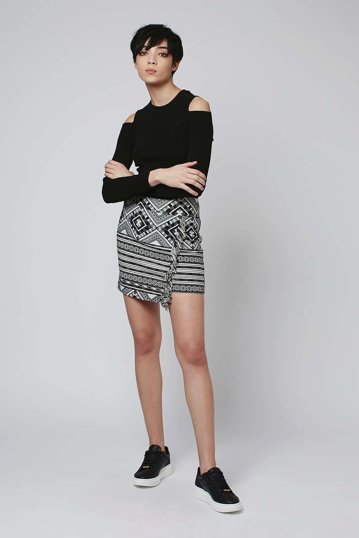 TALL Monochrome Tassel Wrap Skirt
