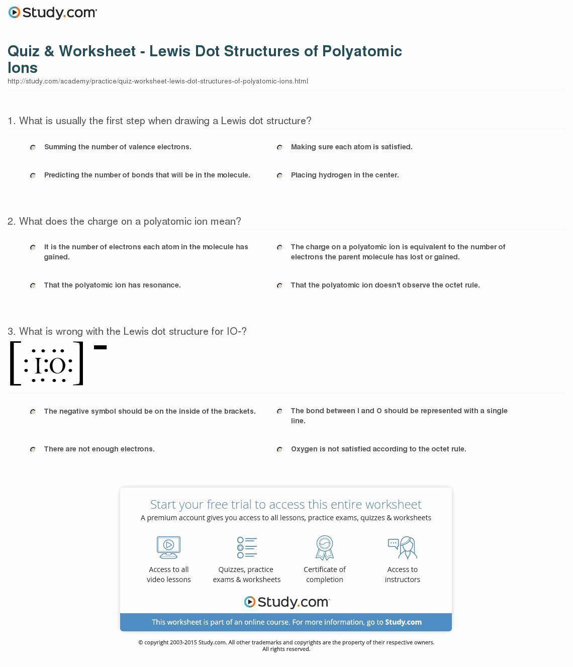 Polyatomic Ions Worksheet Answers