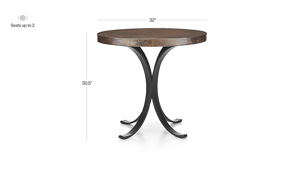 Cobre 32 Round Iron Bistro Table With Copper Top Crate And Barrel