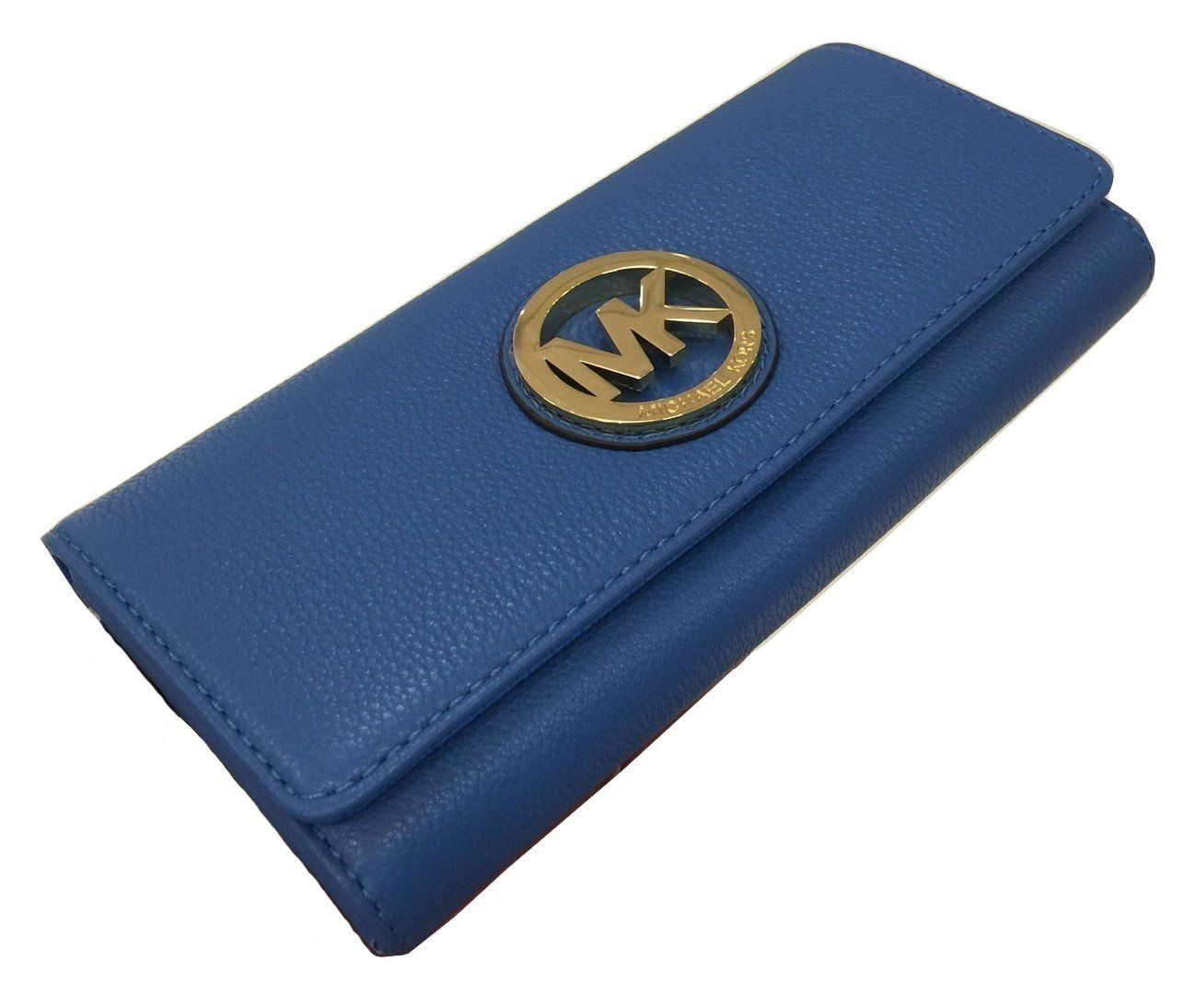 6c9730d3258a Michael Kors Fulton Flap Continental Heritage Blue Leather Clutch Wallet