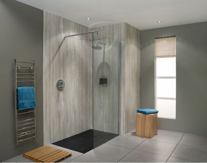Waterproof Wall Board : Silver travertine nuance bb waterproof shower board