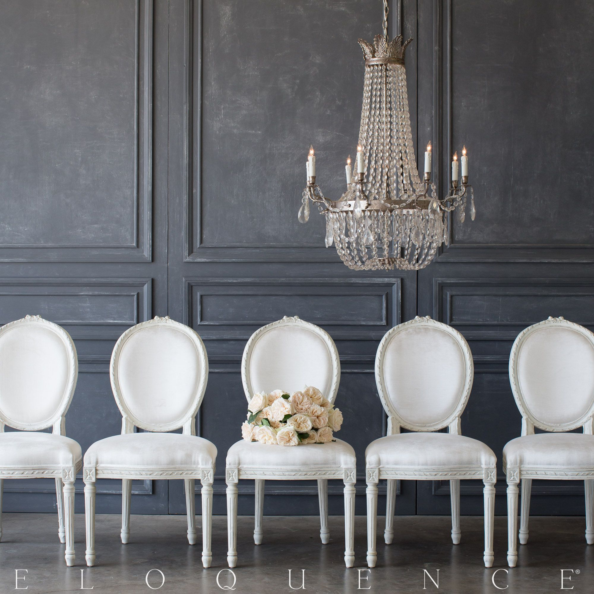 Eloquence Louis Xvi Style Chair In Ivory Velvet French Dining