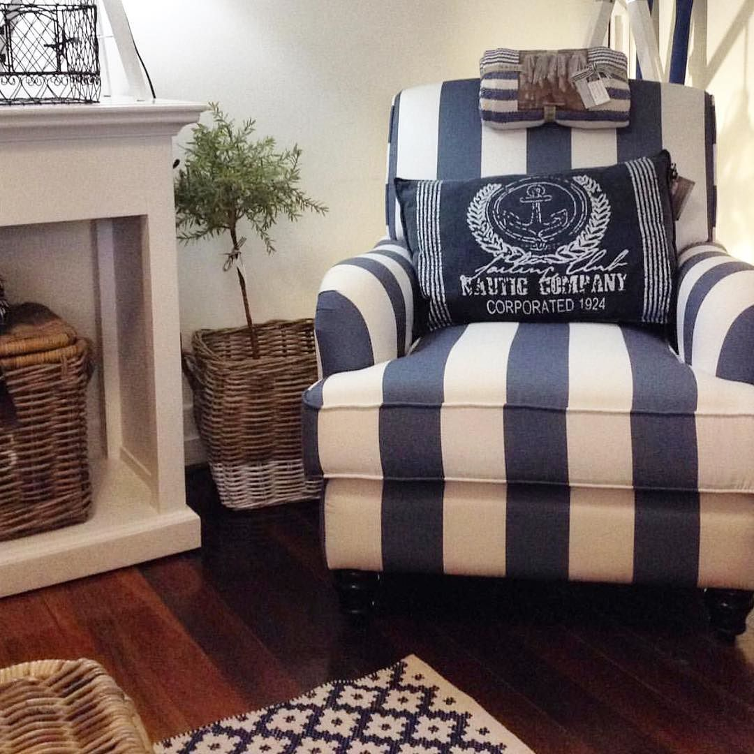 Best How Gorgeous Is This Blue And White Striped Occassional 640 x 480