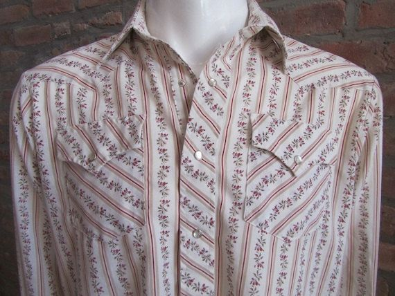 Mens MEDIUM cowboy shirt DR Westerns vintage red flowers and stripes by Vintrowear, $35.00