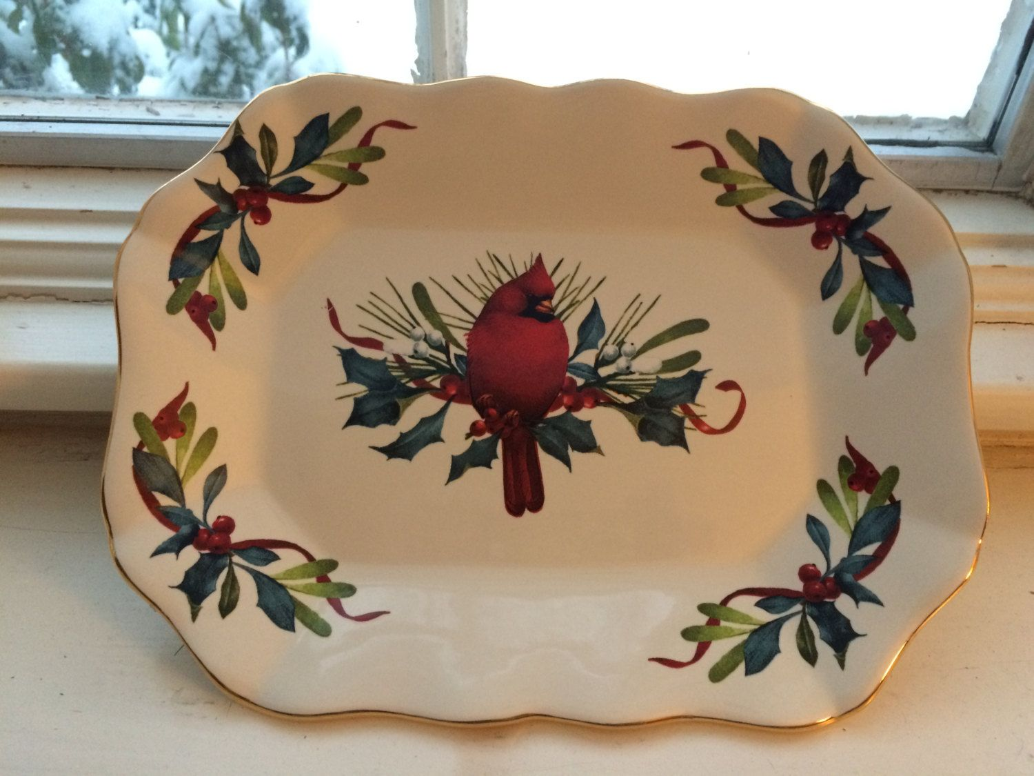 Winter greetings serving plate with cardinal by lenox by winter greetings serving plate with cardinal by lenox by janetsvintagefinds on etsy kristyandbryce Choice Image