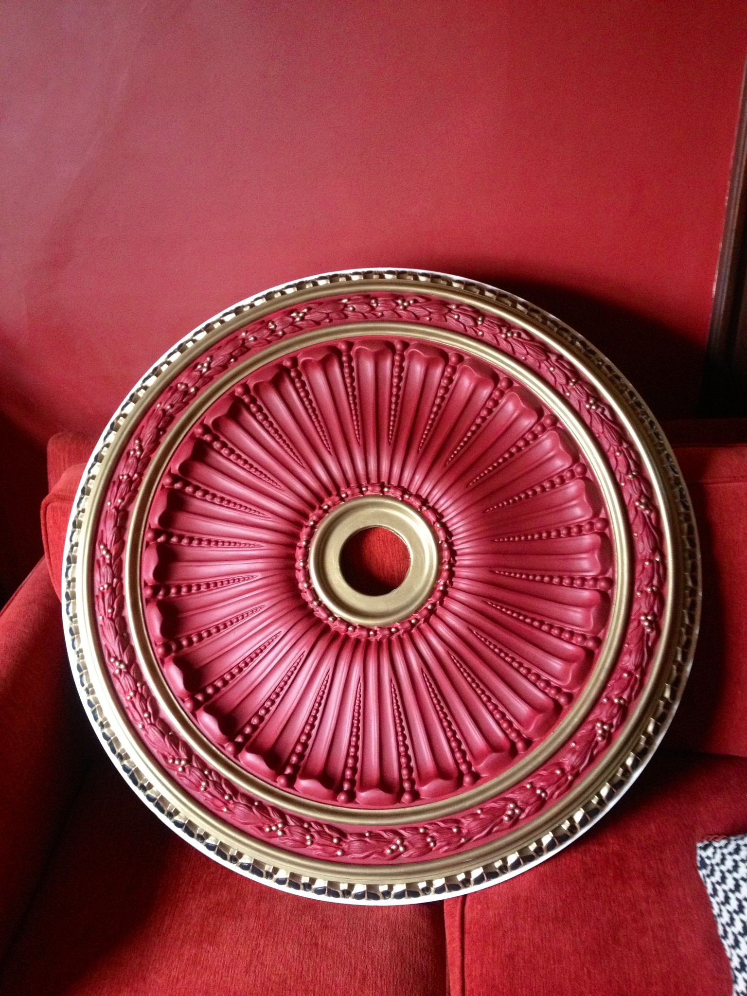destashio paint brass medallion painted finished how ceiling painting to a