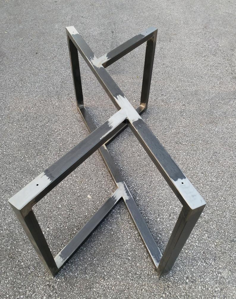 Metal Table Base Dining Table Base Modern Dine Table Custom Etsy Mesas De Metal Mesas De Vidrio Muebles De Metal [ 1006 x 794 Pixel ]