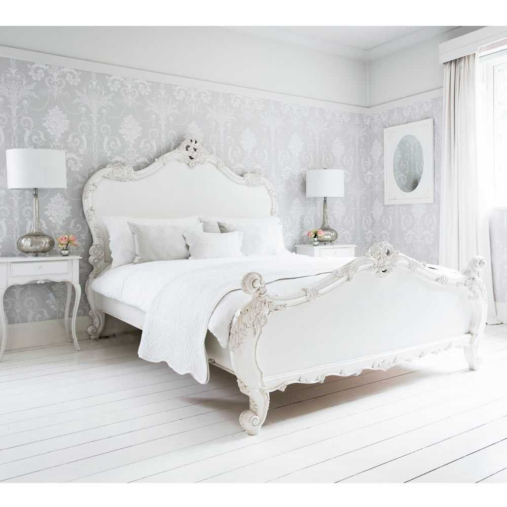 Provencal sassy white french bed double french for A bedroom in french
