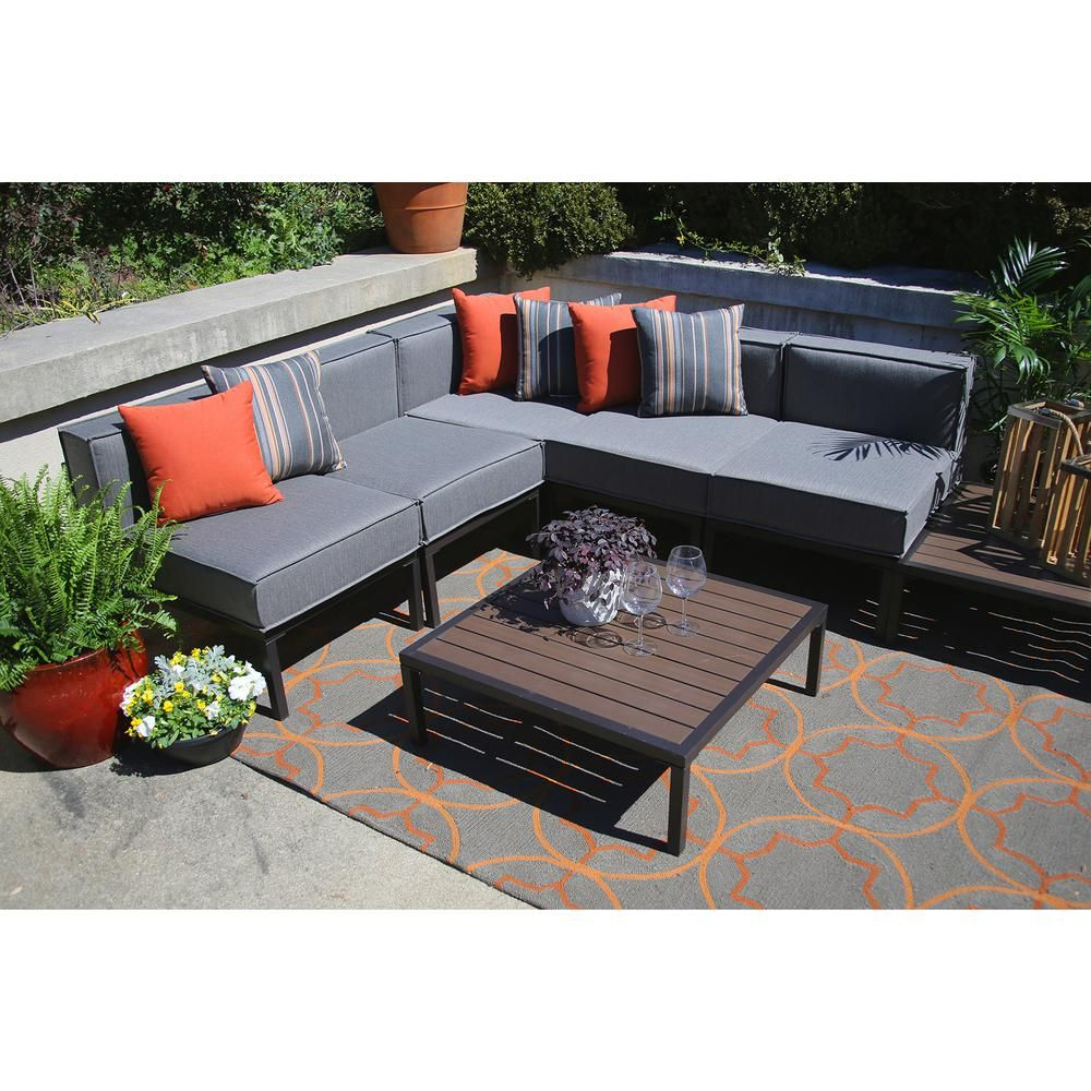 Ae Outdoor Tribecca 7 Piece All Weather Wicker Outdoor Sectional