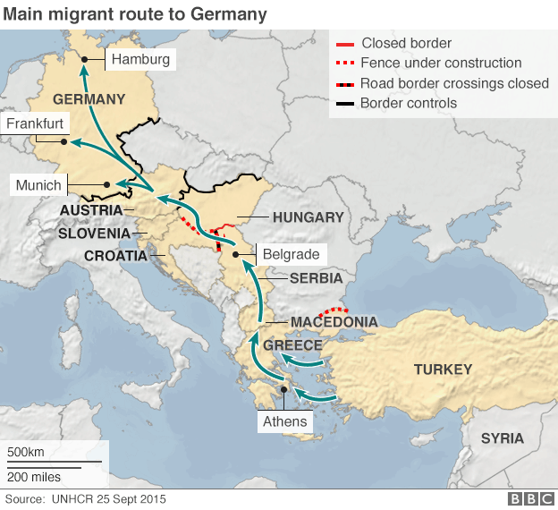 Refugee flow to europe 8000 daily flow and syria map showing migrant route to germany gumiabroncs Choice Image