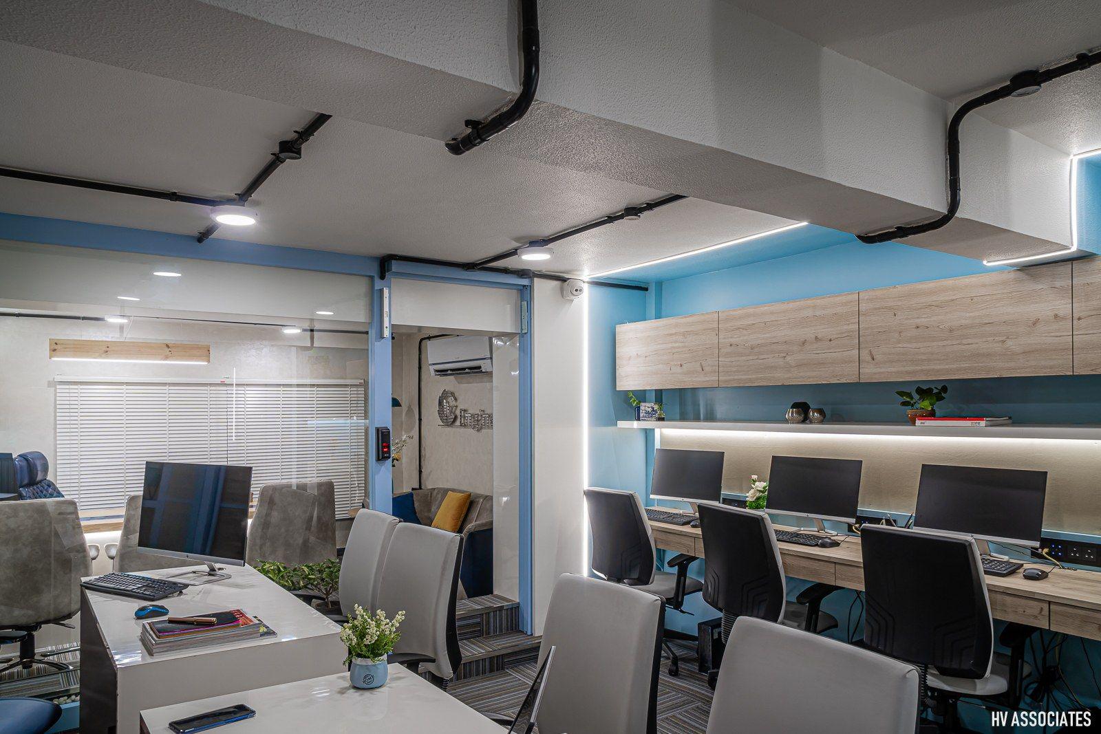 Mood Tinted Blue Office Interior HV Associates The