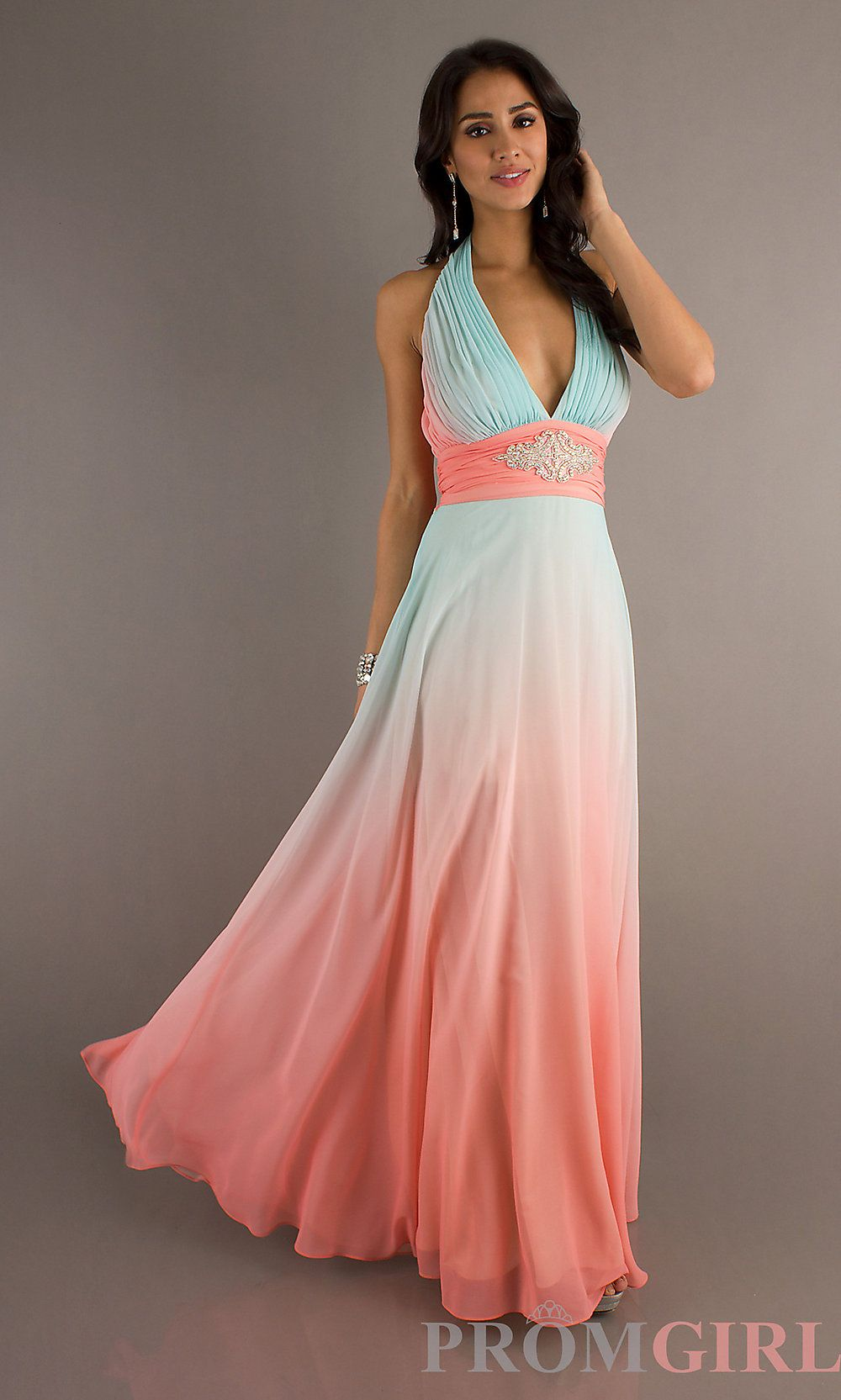 Halter evening gown betsy and adam long ombre dresses for Pink ombre wedding dress