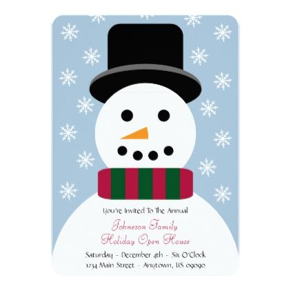 Christmas Snowman Holiday Open House Invitation - christmas cards
