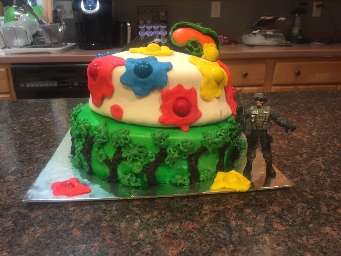 More of the paintball cake